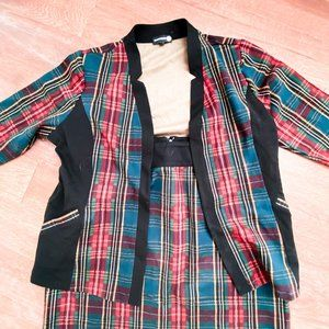 Red and Green Plaid Two Piece Jacket and Skirt